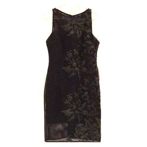 NWT Julia Jordan Black Mesh Sheath Dress Sz 8